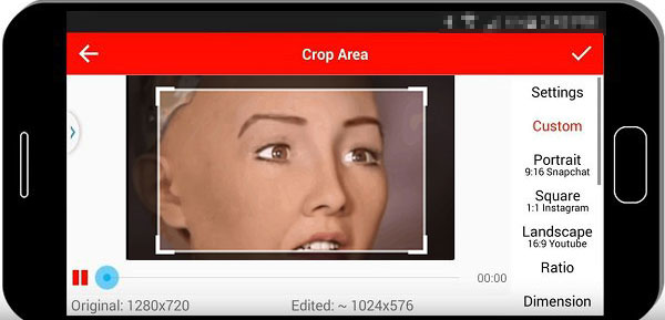Crop a video on Android