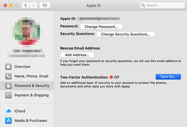 Enable two-factor authentication on Mac